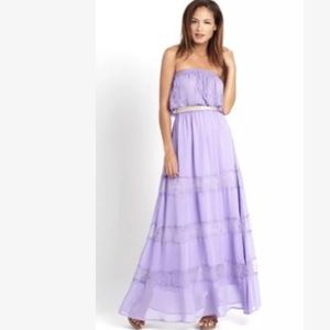 New champagne & strawberry purple lace dress maxi